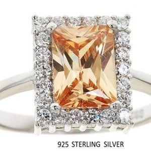 .925 Sterling Silver Champagne crystal ring, size